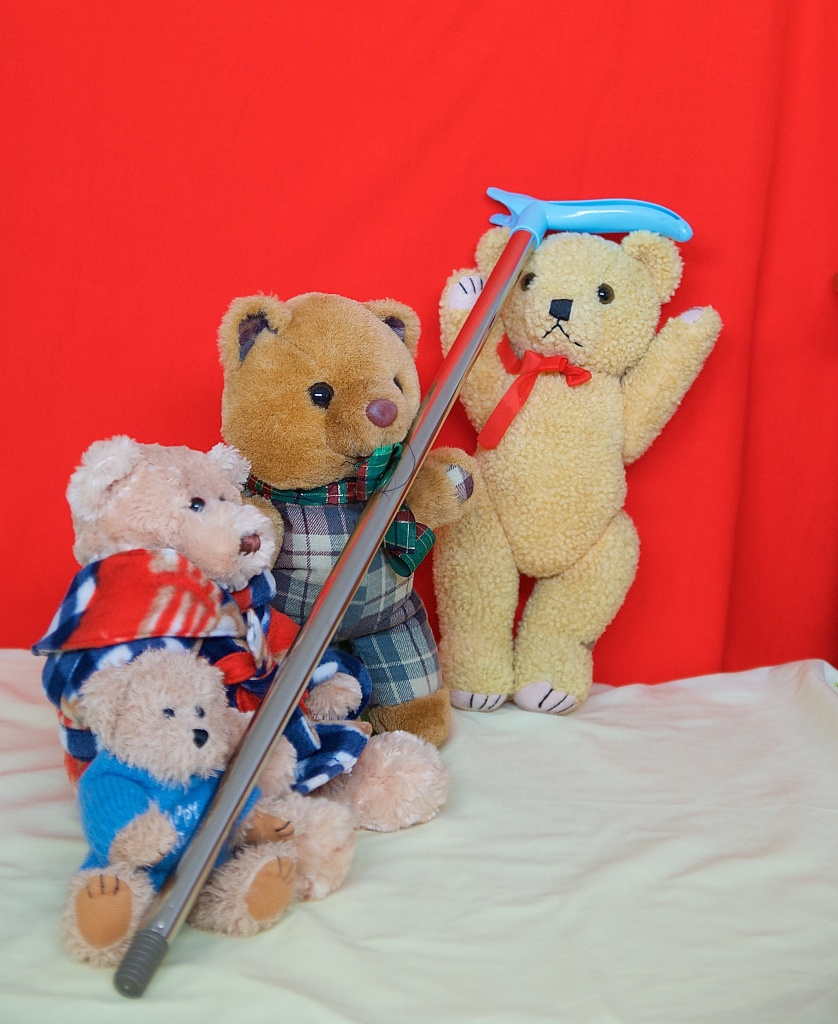 The bears lift the pole into position