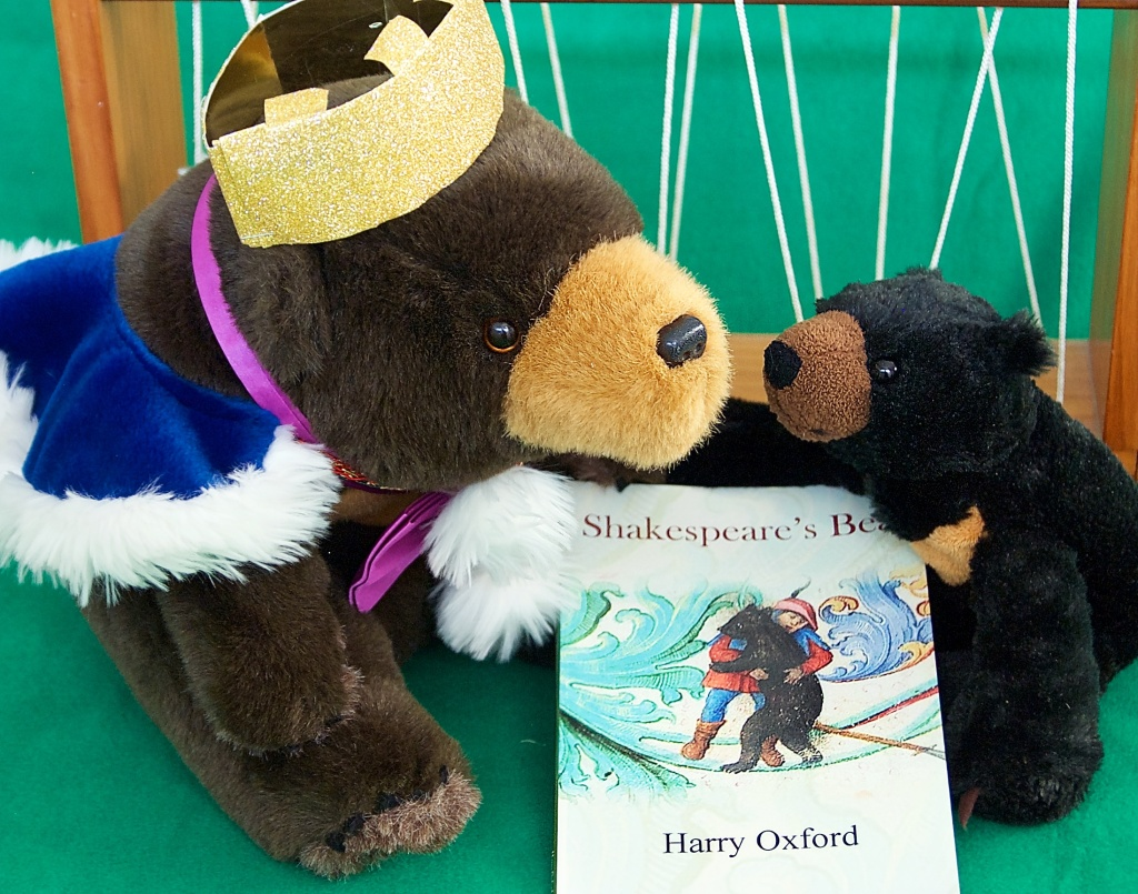 The bears show off Harry Oxfords Shaespears Bear. Our Oora bear wears a cape and crown to perform like Mummer did.